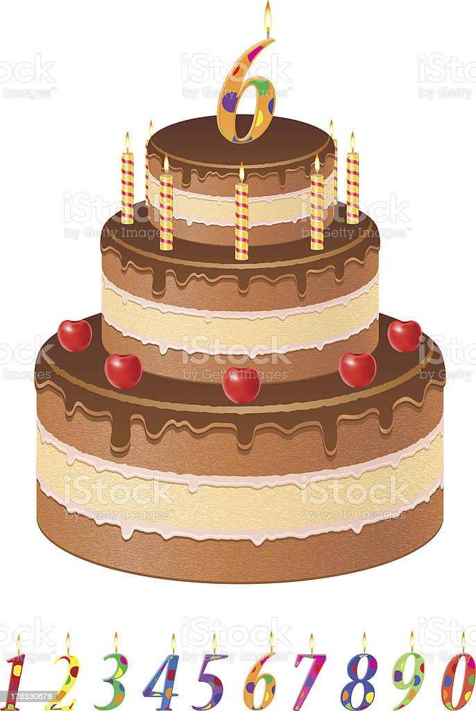 chocolate birthday cake with numbers of age vector illustration royalty-free stock vector art