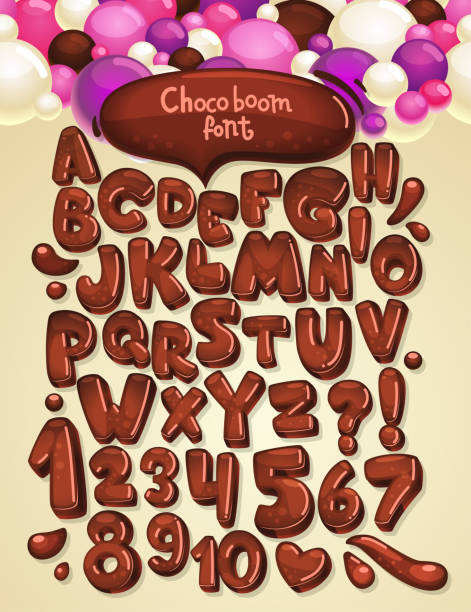schokolade-boom vector schriftart festlegen - schokolade stock-grafiken, -clipart, -cartoons und -symbole