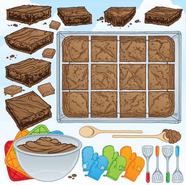 bildbanksillustrationer, clip art samt tecknat material och ikoner med choklad brownie bakning kit - brownie
