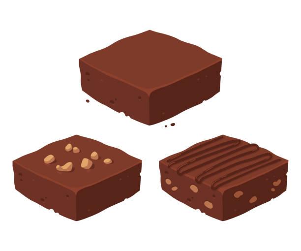 stockillustraties, clipart, cartoons en iconen met chocolade brownie set - fudge