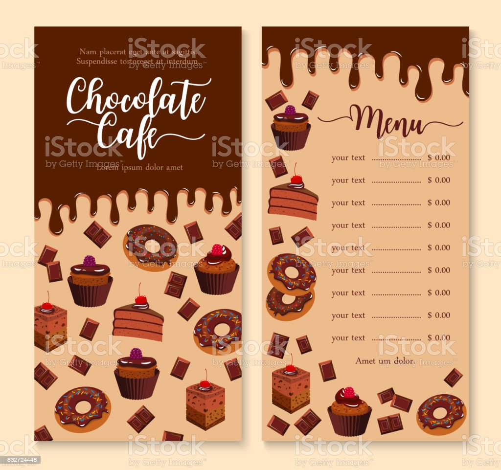 chocolate cake and dessert menu template design stock vector art