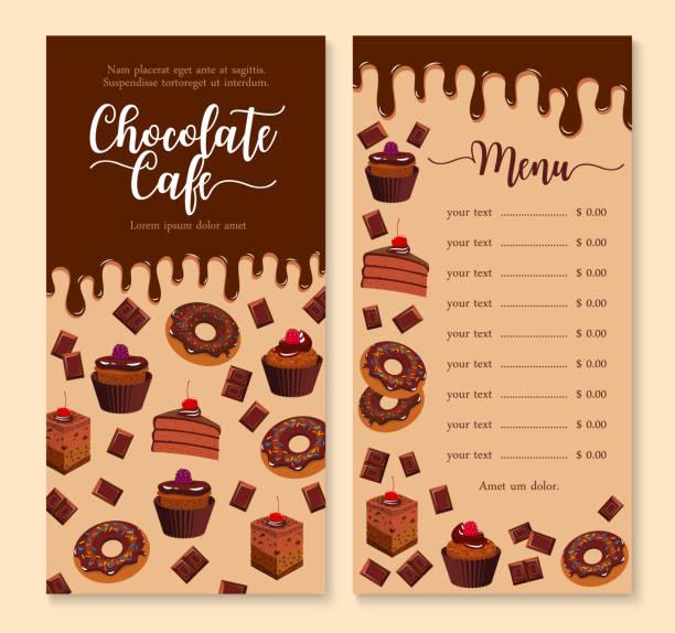 bildbanksillustrationer, clip art samt tecknat material och ikoner med choklad kaka och dessert menyn malldesign - brownie