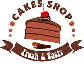 Cake shop badge with chocolate cake topped with cherry fruit and cream, decorated by cinnamon stick and brown ribbon banner with caption Fresh and Tasty