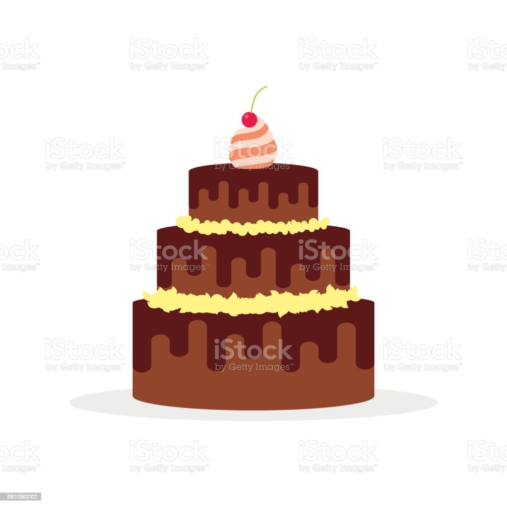 Chocolate cake for birthdays, weddings, anniversaries and other celebrations. Vector illustration of a flat design isolated on white background vector art illustration