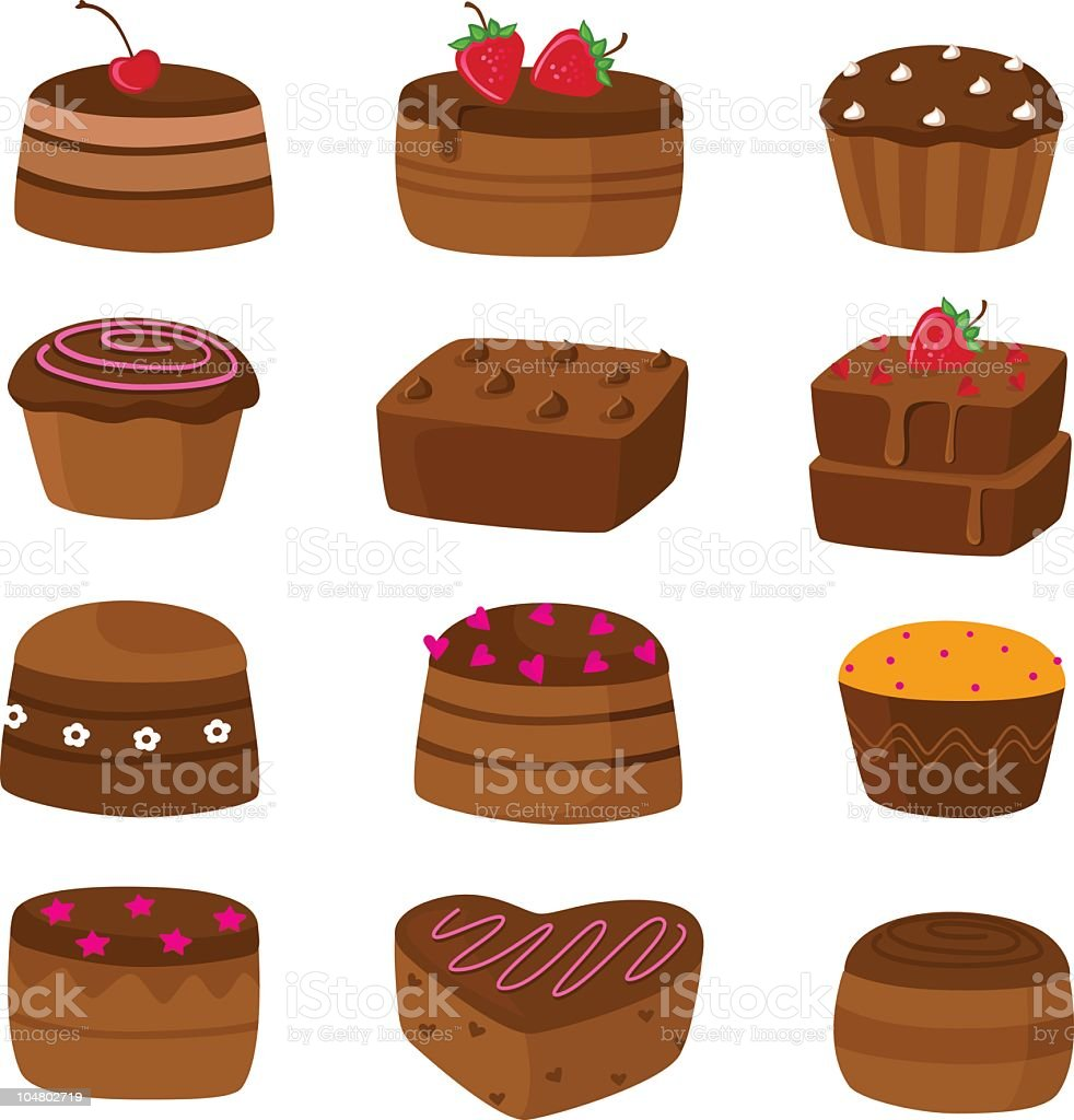 Chocolate Cake Icons vector art illustration