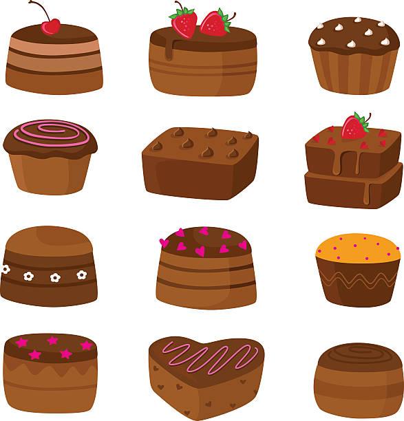 bildbanksillustrationer, clip art samt tecknat material och ikoner med chocolate cake icons - brownie