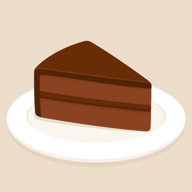 Chocolate cake slice Sachertorte, traditional Austrian chocolate cake with ganache frosting. Slice of cake on plate vector illustration. cake clipart stock illustrations