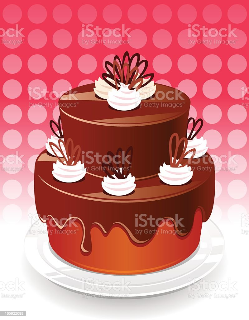 Chocolate cake vector art illustration