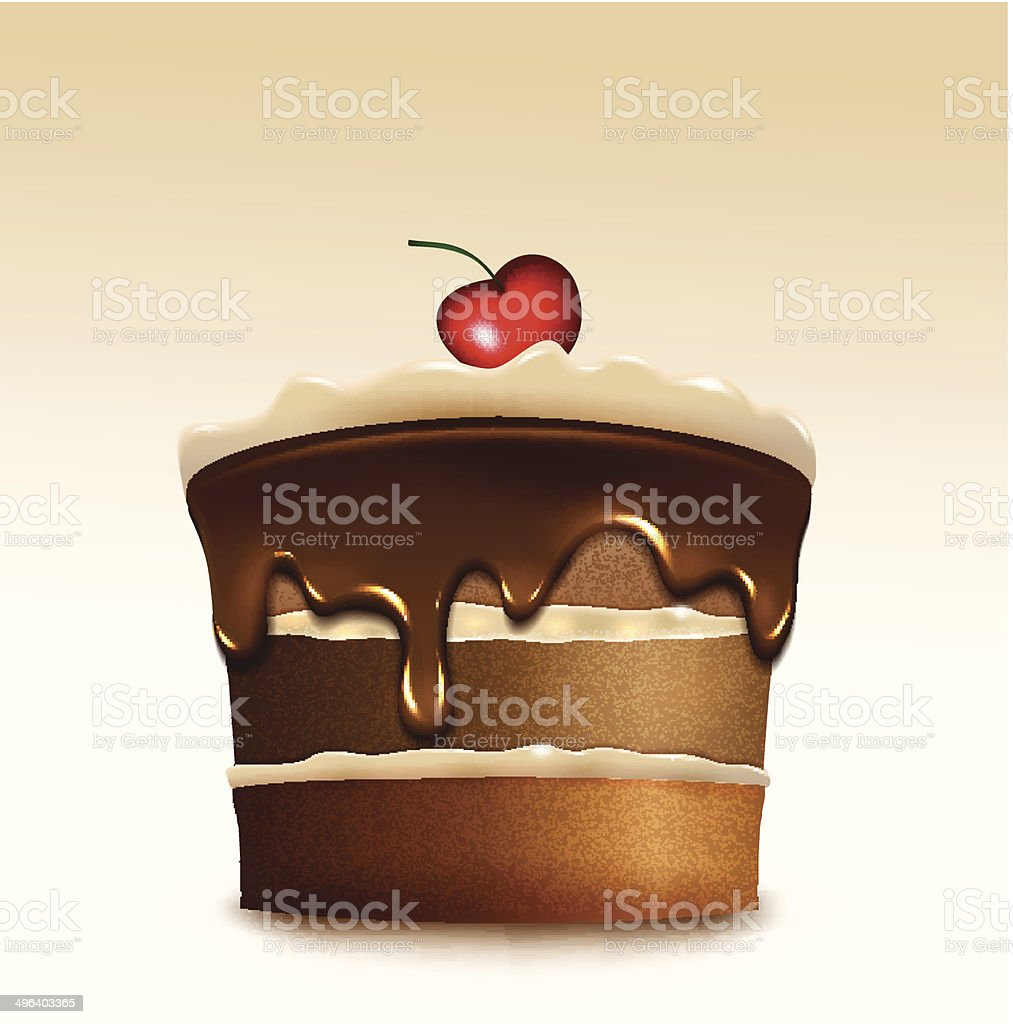 Chocolate cake with biscuit cream and cherry. Vector vector art illustration