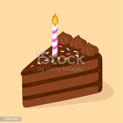 Slice of chocolate birthday cake with candle. Happy Birthday greeting card design element. Cartoon style vector clip art illustration.