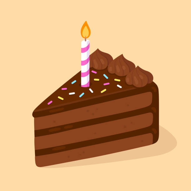 Chocolate cake with candle vector art illustration