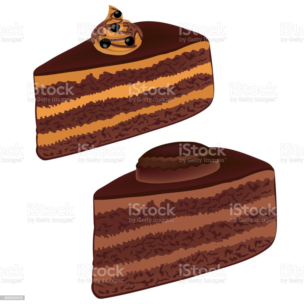 Chocolate cake with caramel cream, decorated berries. A piece of chocolate cake with black currant isolated on white background. Vector. vector art illustration