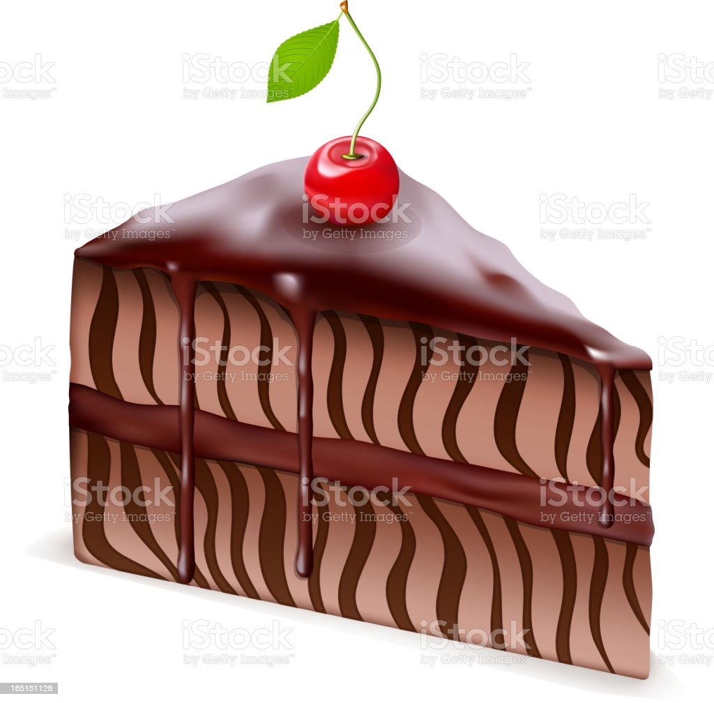 Chocolate cake with cherry vector art illustration
