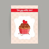 Design element for Valentines Day, wedding or birthday, vintage vertical banner cake in frame on tartan background. Chocolate cake and heart in red wrapper with polka dots, vector illustration