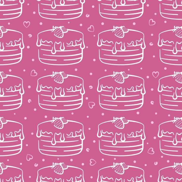 Chocolate cake with strawberries vector seamless pattern on pink background. Pink and white holiday background hand-drawn Chocolate cake with strawberries vector seamless pattern on pink background. Pink and white holiday background hand-drawn cartoon of birthday cake outline stock illustrations