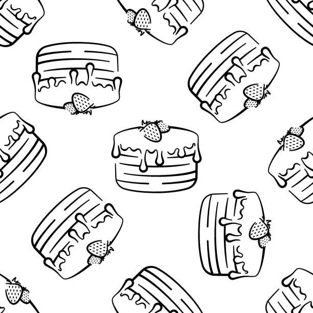Chocolate cake with strawberries vector seamless pattern on white background. Black and white holiday background hand-drawn Chocolate cake with strawberries vector seamless pattern on white background. Black and white holiday background hand-drawn cartoon of birthday cake outline stock illustrations