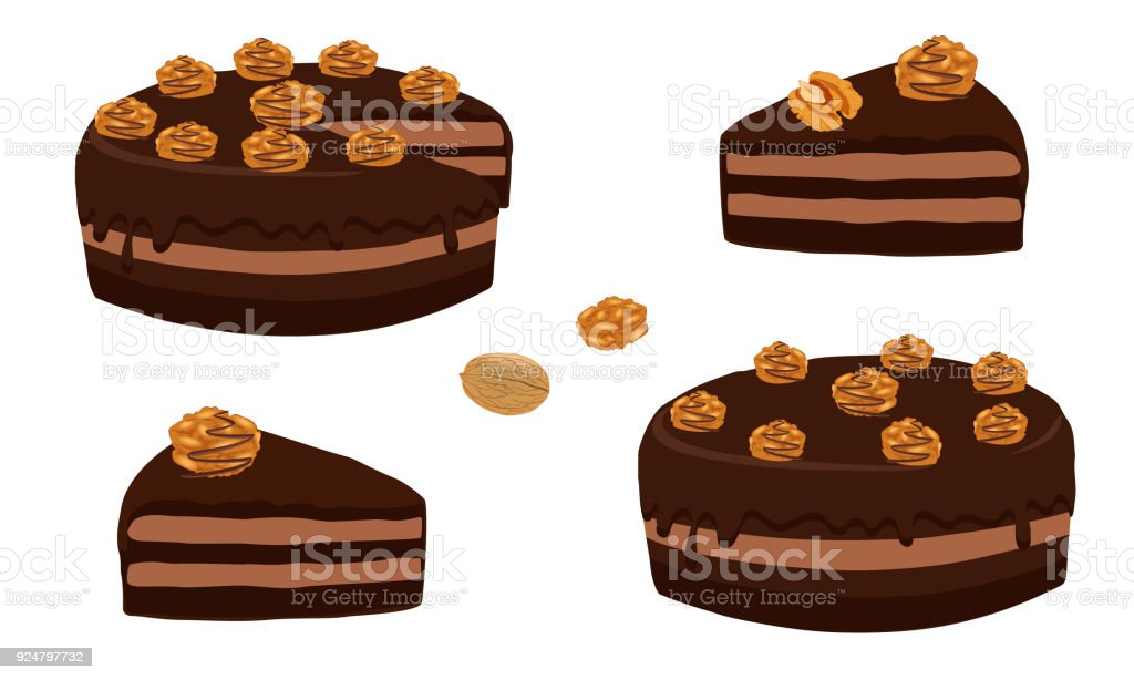 Chocolate cake with walnuts whole and cut portion. Cake cut sliced with cuttings. A piece of chocolate cake. Dessert close-up isolated on white background. Vector illustration. vector art illustration