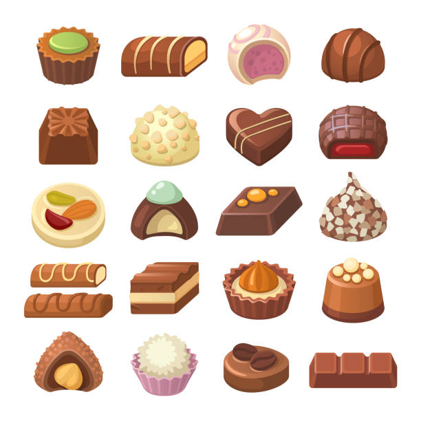 pralinen-kollektion. - schokolade stock-grafiken, -clipart, -cartoons und -symbole