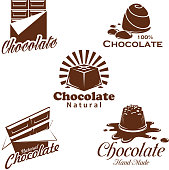 Chocolate candy and bar vector symbol set. Cacao dessert and choco sweets with nuts and milk brown emblem decorated by drop and splashes of melted chocolate. Sweet shop and confectionery design