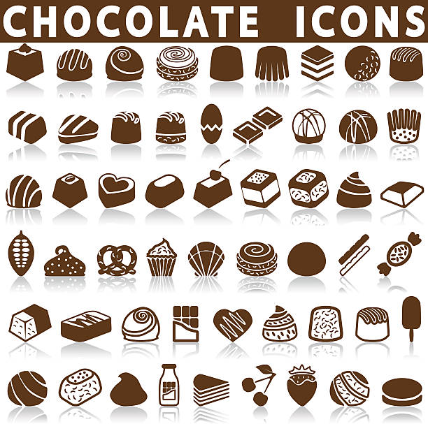 chocolate candy icons chocolate candy icons on a white background with a shadow candy silhouettes stock illustrations