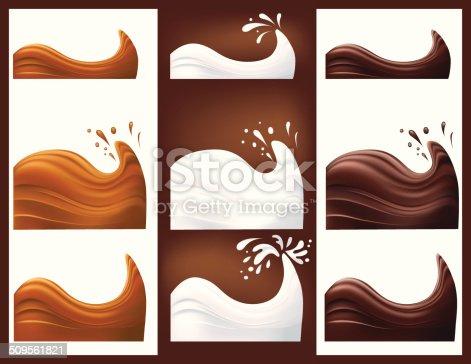 istock Chocolate caramel and Milk Swirls and Splash 509561821