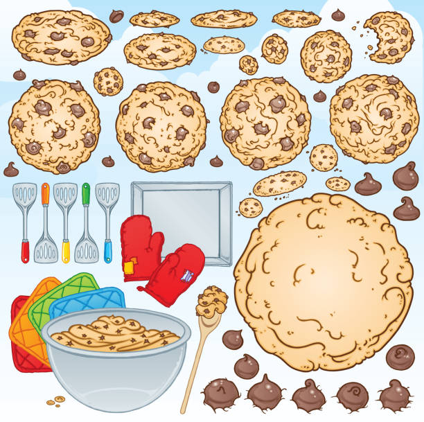 chocolate chip cookies backen kit - plätzchenteig stock-grafiken, -clipart, -cartoons und -symbole