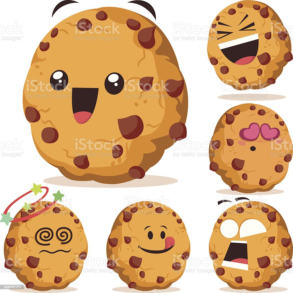Chocolate Chip Cookie Cartoon Set A vector art illustration