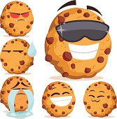 Cartoon chocolate chip cookie set including: