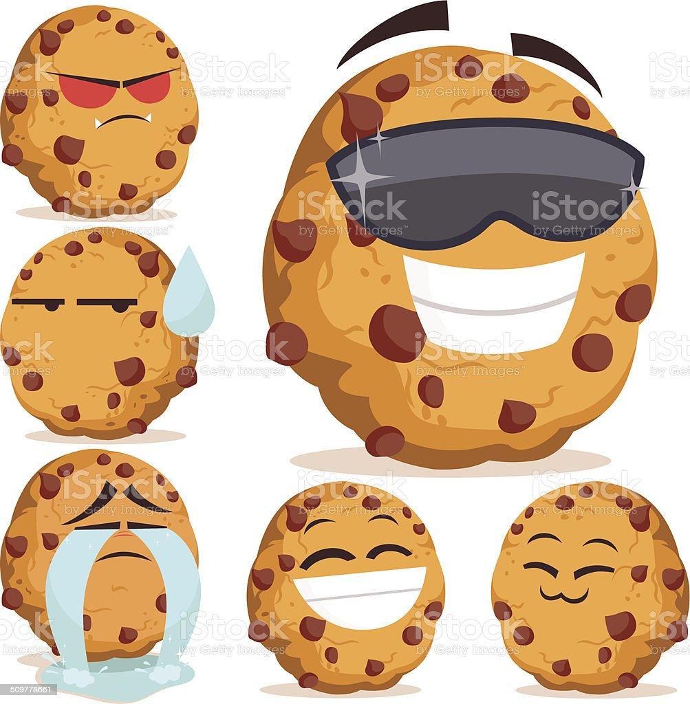 Chocolate Chip Cookie Cartoon Set B vector art illustration