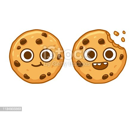 Cute cartoon chocolate chip cookie character with funny face. Cookie mascot vector illustration.