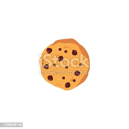 istock Chocolate chip cookie illustration in vector. 1208648146