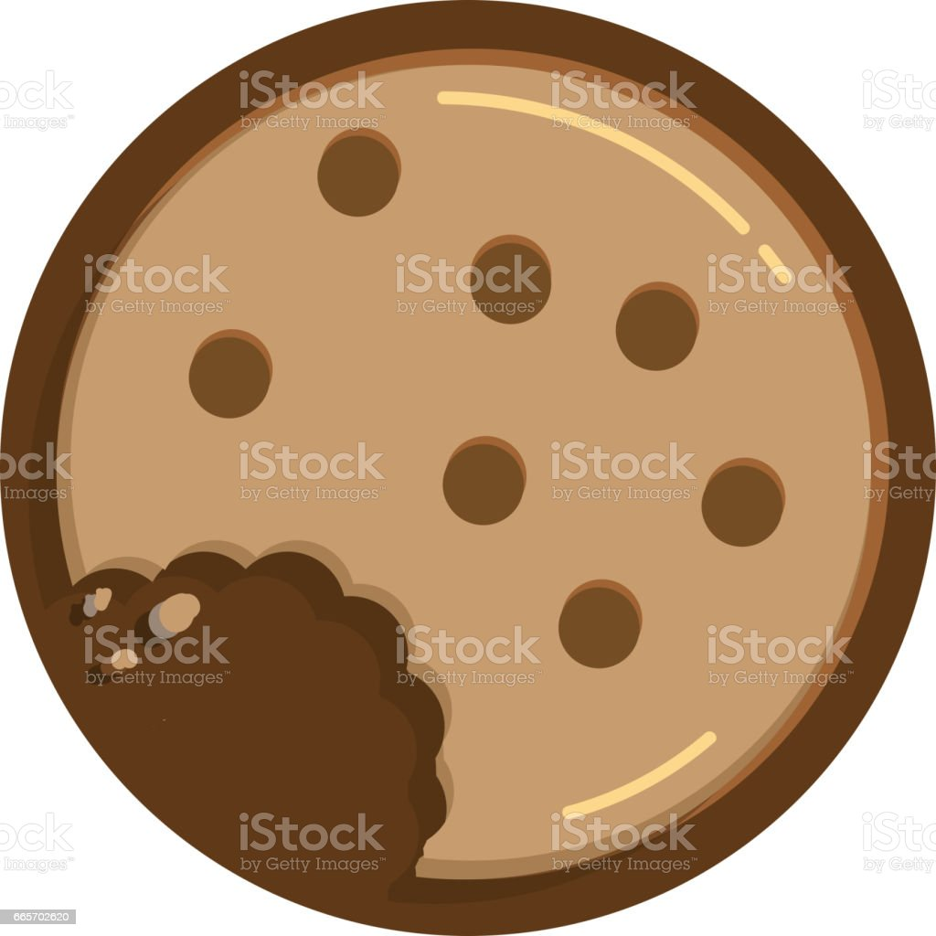 Chocolate chip cookie with bite and crumbs circular shape vector art illustration