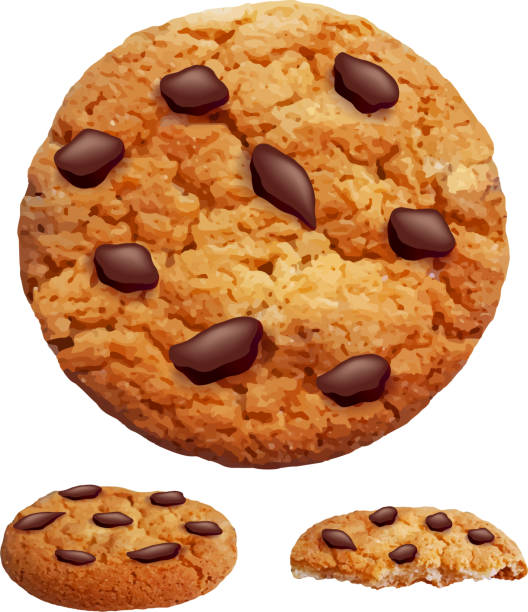 chocolate chip cookies foto realistisch 3d-vektor - keks stock-grafiken, -clipart, -cartoons und -symbole