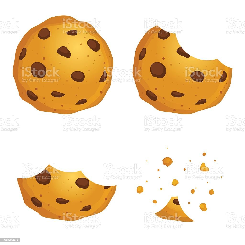 Chocolate Chip Cookies In Different Eating Stages vector art illustration