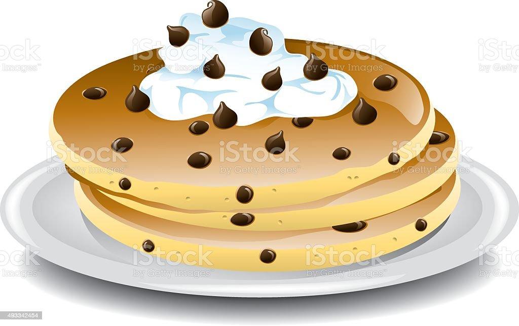 Chocolate chip pancakes vector art illustration