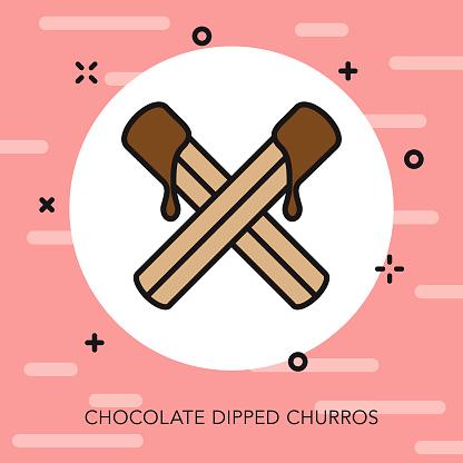 Chocolate Churros Thin Line Icon