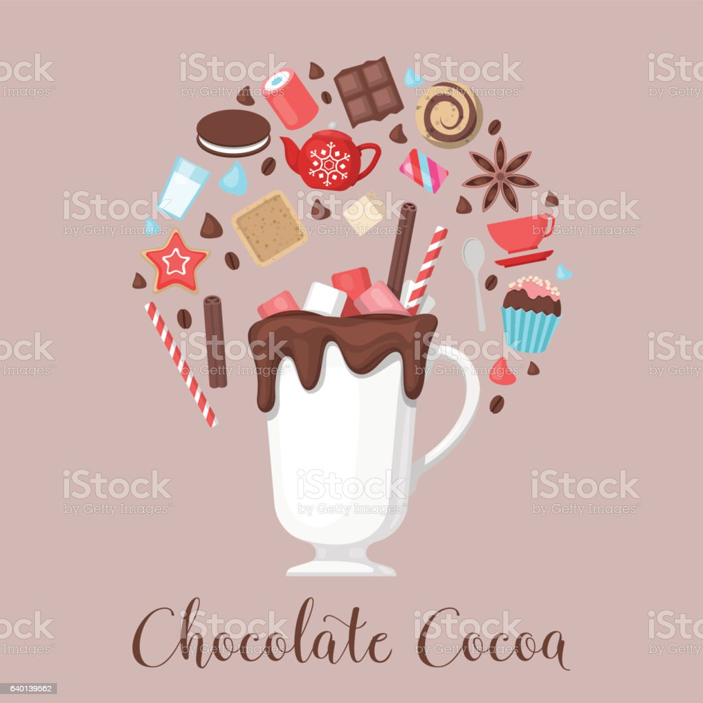 Chocolate Cocoa Drink Mug with Coffee Beans and Sweet Food vector art illustration