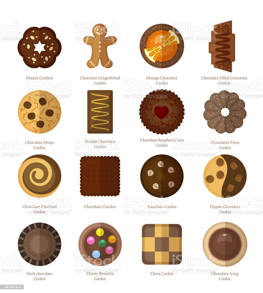 Chocolate cookie icons vector art illustration