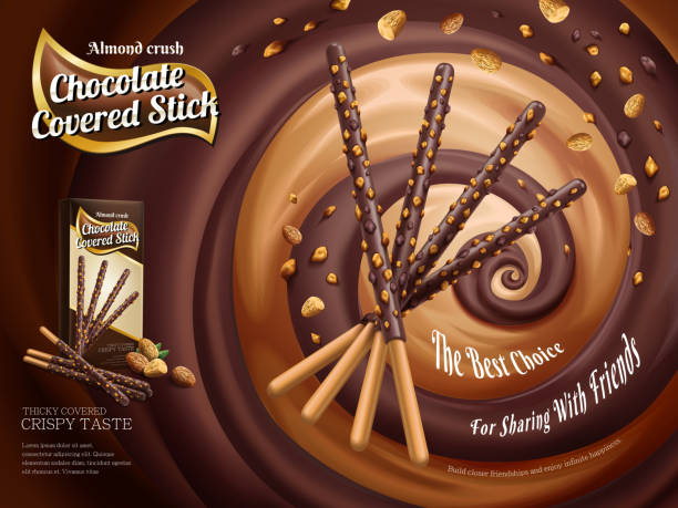 Chocolate covered stick ads vector art illustration