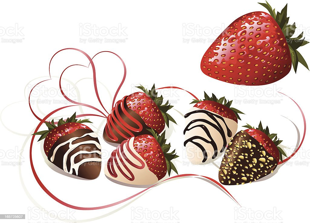 Chocolate Covered Strawberries vector art illustration