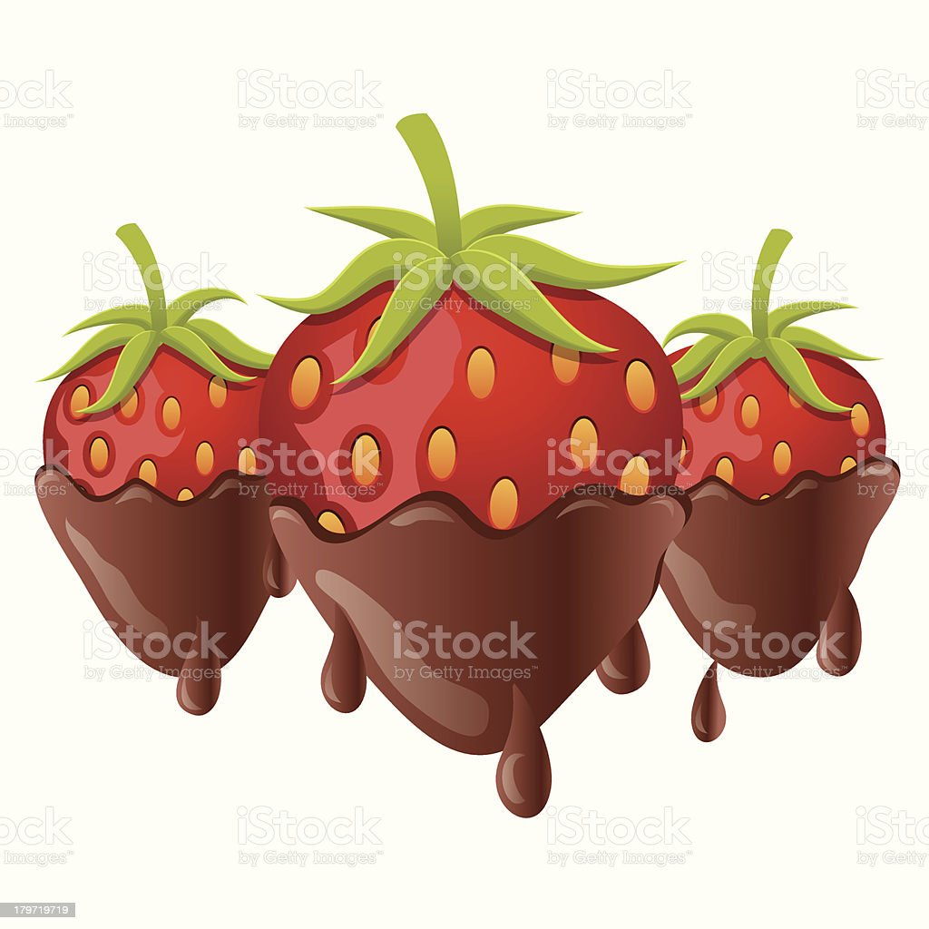 Chocolate Covered Strawberries (isolated) vector art illustration