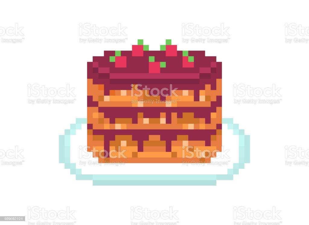 Chocolate Cream And Fresh Strawberry Birthday Cake Pixel Art Icon