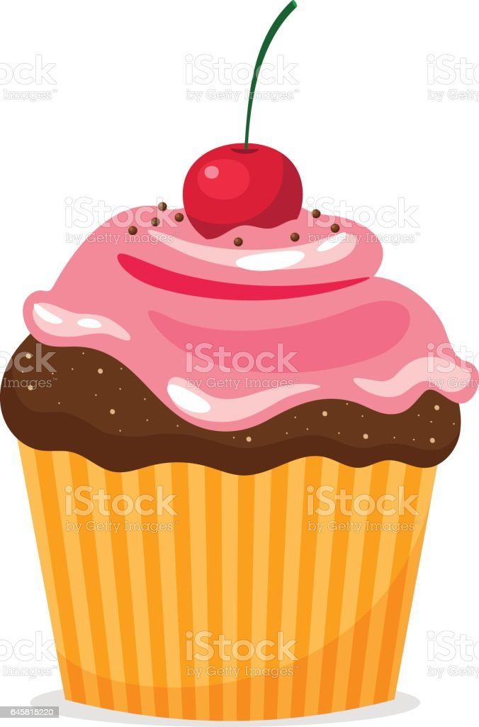 Chocolate cupcake with cream and cherry vector art illustration