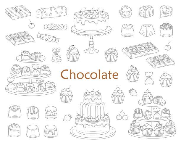 schokoladen-nachtisch-sammlung mit schokolade kuchen, schokoriegel, süße bonbons und muffins, vektor-illustration - tortenriegel stock-grafiken, -clipart, -cartoons und -symbole