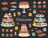 Chocolate dessert collection, with chocolate cherry cakes, chocolate bars, sweet candies and cupcakes, vector illustration