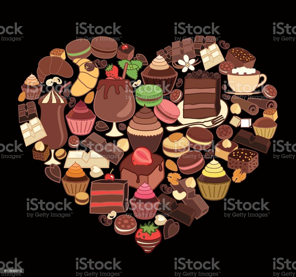 Chocolate desserts in the shape of heart. vector art illustration