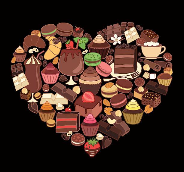chocolate desserts in the shape of heart. - tortenriegel stock-grafiken, -clipart, -cartoons und -symbole