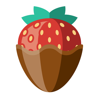 Chocolate Dipped Strawberry Icon on Transparent Background