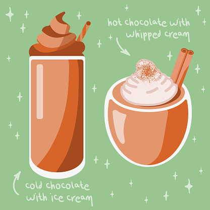Chocolate drink set: cold with ice cream and hot with wripped cream
