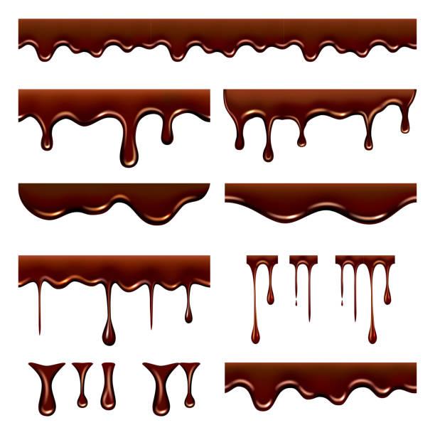 schokolade tropfte. süß fließende flüssige nahrung mit spritzern und tropfen karamell kakao vektor realistische bilder - schokolade stock-grafiken, -clipart, -cartoons und -symbole